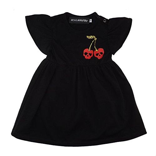 Metallimonsters Negro Calavera Cherry bebé Vestido