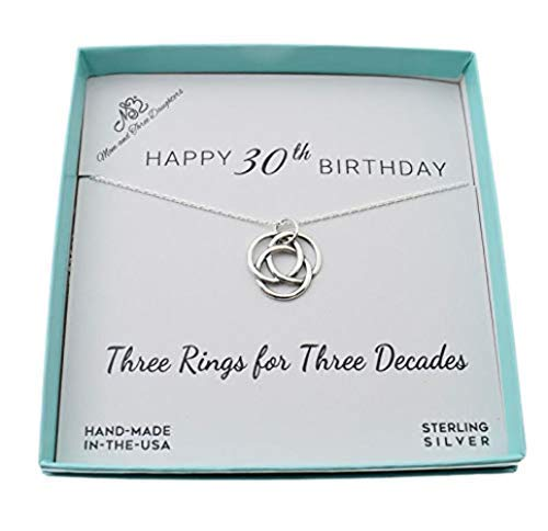 30th Birthday for Her Pendant in Sterling Silver on 18 Inch Sterling Silver Cable Chain. 30th Birthday Gift. 30th Birthday Gift. 30 Years Old
