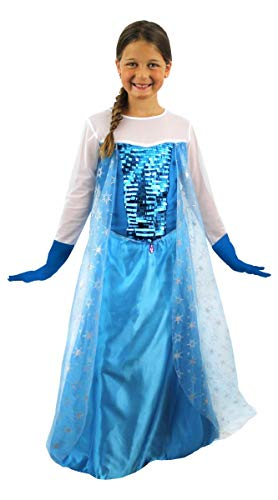 0216PDC0A1G ILOVEFANCYDRESS Ice Queen Robe Fille Costume Childs Movie Outift Snow Robe de Princesse Movie Personnage Livre Semaine (10–12 Ans)