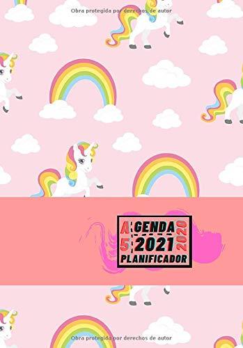 Agenda 2020 2021 Planificador A5: Diseño de Portada Unicornios Rosas - Bonitas Agendas semana vista DIN A5- Pequeña y de bolsillo con calendario de 18 ... eventos y fechas en páginas para tu día a día