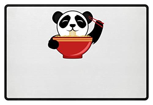 Schattige pandabeer is Chinese pasta met stokjes. Is de kleine niet om te knuffelen? - Deurmat