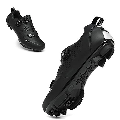 KUXUAN Zapatillas de Ciclismo Zapatillas de Ciclismo de Carretera para Exteriores para Mujer para Hombre Zapatillas de Ciclismo de competición Zapatillas MTB para Hombre,Black-41EU