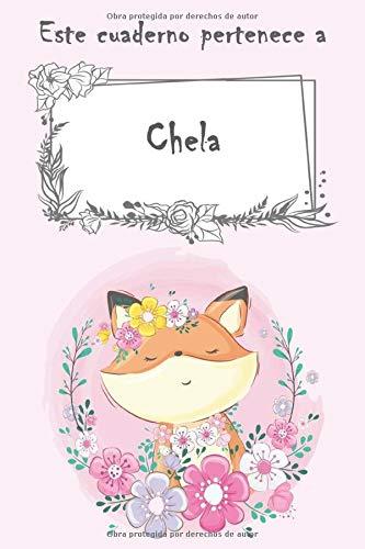 Este cuaderno pertenece a Chela: Cuaderno personalizado con nombre - con más de 100 nombres femeninos y masculinos para elegir - 110 páginas a rayas, Tamaño 21.59 x 21.59 cm (6 x 9 pulgadas)