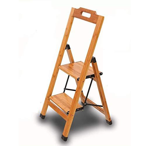 Taburete de Doble Paso Escalera Plegable de bambú Silla de Escalera Hogar multifunción Interior para Cocina al Aire Libre