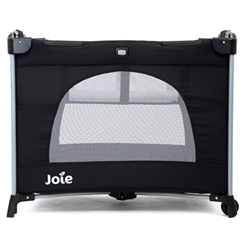 Joie Kubbie Bassinet Travel Cot Removable Bassinet Integrated Wheels - Black Coal