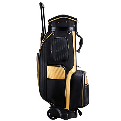 MxZas Carry Golftasche Leichte Golf Club Wagen Taschen mit Rollen Golf Stand Bag Golf Cart Bag Golf Travel Carry Standard-Beutel-Organisator (Color : Black, Size : 26x34x123cm)