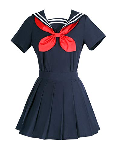 ROLECOS Himiko Toga Cosplay Fantasia My Hero Academia Suéter Sailor Vestido, Azul, Small