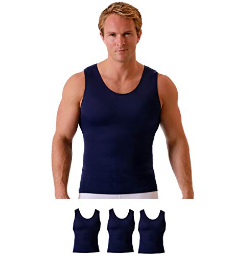 Insta Slim Men's Compression Shirt Muscle Tank Top - Slimming Body Shaper Undershirt - 3 Pack