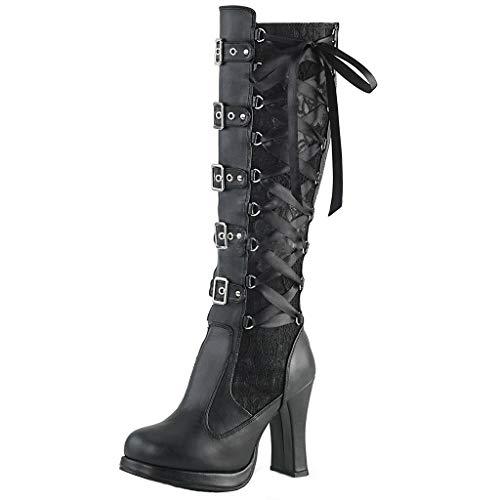 Overknee Stiefel Mode Frauen Kreuz gebunden Leder Knie Plateaustiefel Gothic Bows Schuhe (36 EU,Schwarz)