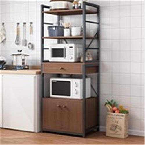 Cocina Piso Multi capa Almacenamiento Hogar Microondas Horno Horno Horno Multi Function Gabinete Gabinete de almacenamiento Estante de panadero de cocina ( Color : Marrón , Size : 165x40x60cm )