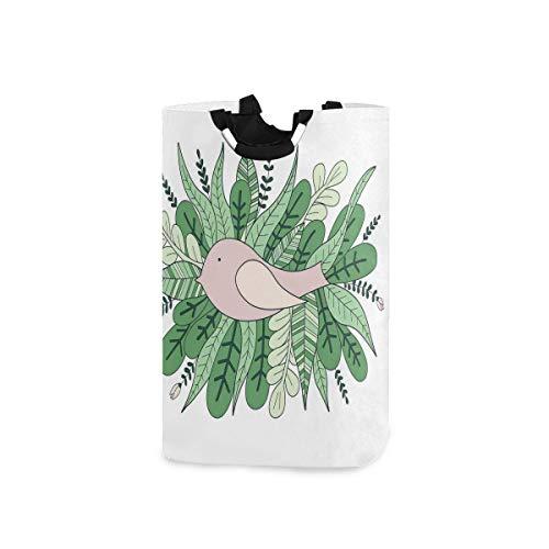 BEITUOLA Laundry Basket,Hand-Drawn Illustration Of Tiny Sparrow Nesting Leaves Pile,Portable Washing Basket,Laundry Hamper with Handle,Storage Bag,Laundry Bin,Large Capacity,Collapsible