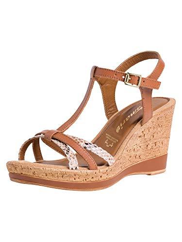 Tamaris Damen 1-1-28347-26 sandale, T-Spange, cognac/snake, 38 EU