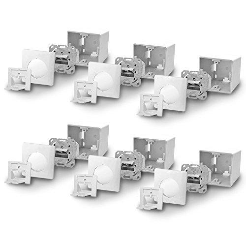 Cat6a Netzwerkdose Netzwerk Dose 6x Cat 6 a 2x RJ45 Port voll geschirmt Metalldurchgussgehäuse Aufputz Unterputz Cat7 Kabel ARLI