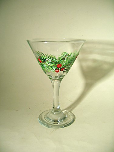 Hand Painted Martini Glass With Pine Boughs and Berries