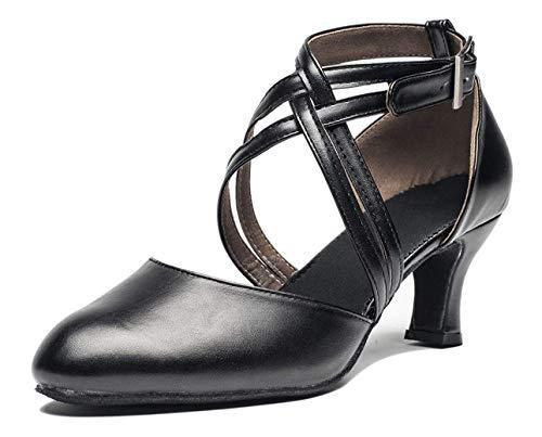 Joocare Women Cross Strap Latin Ballroom Black Character Dance Shoes Ladies Modern Tango Salsa Party Dress Pump (8.5, Black)