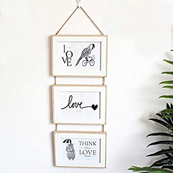 Triple Hanging Picture Frame,vertical collage picture frames,Rustic Wood Picture Frames on hemprope wall hanging vertical gallery decoration-Rustic 4x6 Picture Frame-3 Sets  burlywood 6