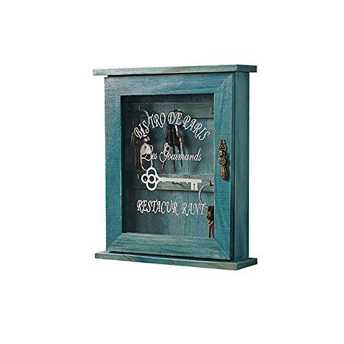 Laiashley Caja de madera para llaves decorativas, armario para coleccionar llaves para decoración de pared, decoración del hogar (33 x 22 x 7,5 cm)