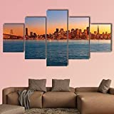 ComposicióN De 5 Cuadros De Madera Para Pared San Francisco Sunset Skyline In California Cuadros Decoracion Dormitorios Cuadros Para Cabeceros Cama Lienzos Decorativos Cuadros Grandes Baratos 150x80cm