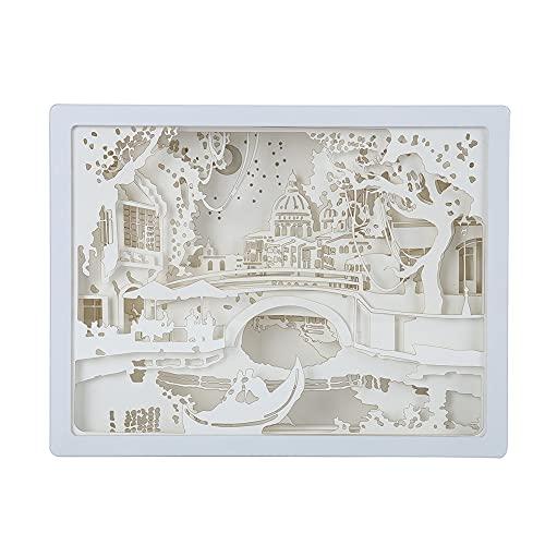 Papercut Cajas de luz 3D Caja de sombra LED Luz de noche Decoración de arte 3D Talla de papel Lámpara de luz decorativa de estado de ánimo de bebé Niños Dormitorio Sala de estar Luz de noche