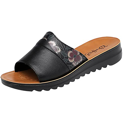 Kirin-1 Zapatillas De Casa para Mujer Verano,Zapatillas De Novia,Zapatillas De Cuero, Sandalias...
