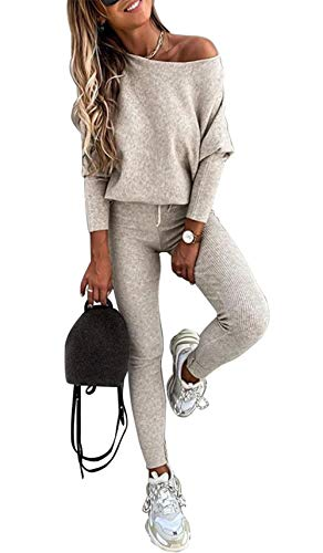 PRETTYGARDEN Women's Casual Two Piece Outfit Long Sleeve Off Shoulder Tops with Leggings Active Tracksuit Solid Lounge Wear Apricot