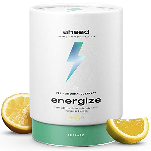 ahead Energize | Natural Pre Workout Supplement with Vitamin B6, B12 | L-Citrulline, Arginine, L-Theanine, Panax Ginseng | for Training, Competition | Lemon 450g | Made in Germany