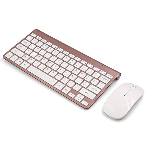 XALZ Draadloze Toetsenbord Muis Combo Ergonomische 2.4 Ghz Stille Stille Toetsenbord En Mute Muis Combo Compact Draagbare Kleine Draadloze Toetsenbord Muis voor Windows PC
