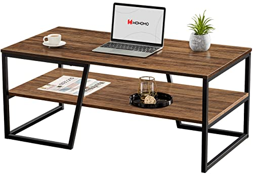 WOHOMO Coffee Table, Industrial Coffee Table for Living Room with 2 Tier Shelves, 41.7' x 21.7' x 17.7' Rectangular Unique Coffee Table with Abstract Diagonal Base, Easy Assembly, Rustic Walnut