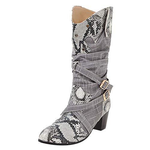 OHQ Botas Martin Mujer Botines Serpiente Tacones Altos Botas De Nieve Medias Punta Estrecha Negro Rojo Beige Azul Zapatos De Invierno