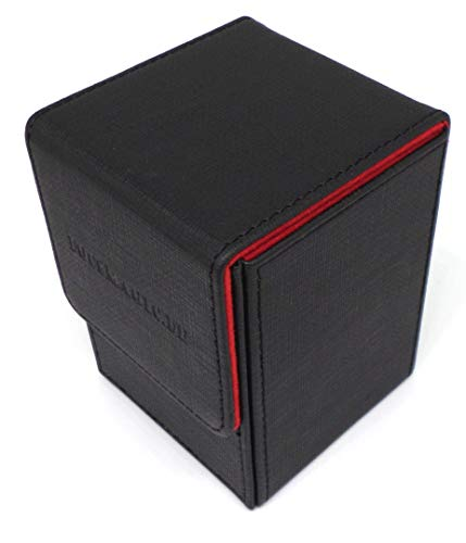 docsmagic.de Premium Magnetic Flip Box (100) Black/Red + Deck Divider - MTG PKM YGO - Kartenbox Schwarz/Rot
