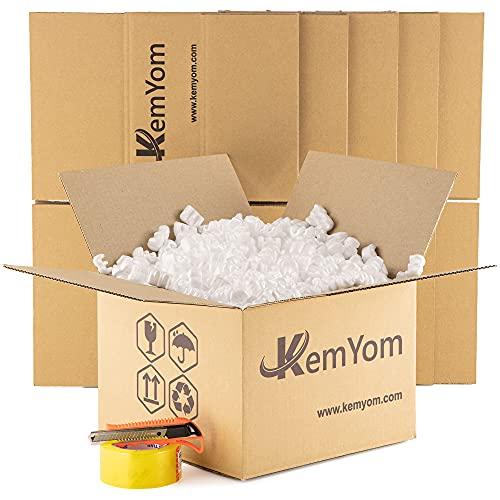 KemYom - 5 Cajas de Cartón para Embalaje y Mudanza de 30x30x12cm +1 Caja Cartón de 35x35x42cm con Relleno de Poliestireno Expandido Tipo W para Embalaje +1 Cinta Embalar +1 Cutter (Pack 5)