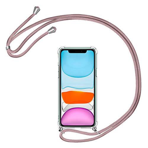 AROYI Funda con Cuerda Compatible con iPhone 11, Carcasa Transparente TPU Silicona Case con Colgante Ajustable Collar Correa de Cuello Cordón Compatible con iPhone 11, Oro Rosa