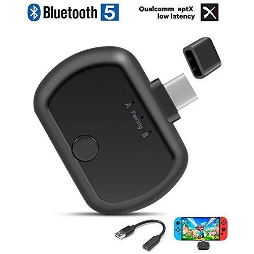 IOIOA Draadloze Audio Transmitter, Bluetooth 5.0 Audio Transmitter USB/Type-C Draadloze Adapter Aangesloten Op Twee Bluetooth Speakers Of Koptelefoon op Dezelfde Tijd voor PC/TV