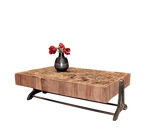 Meubletmoi salontafel, rechthoekig, van exotisch hout en onderstel van metaal – industrieel design – link
