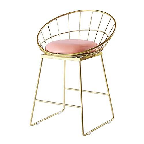 WYJW Nordic barkruk smeedijzeren barkruk eetkamerstoel met gouden plaat, draad holle barkruk max. 200 kg.