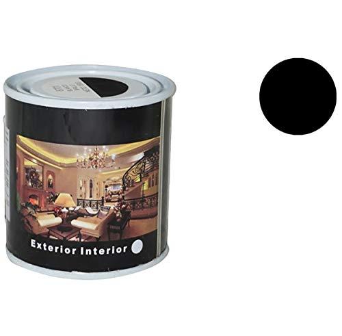 Pintura Esmalte al Disolvente para Madera y Metal, Pintura Alquidica de Rápido Secado para Superfícies Interiores y Exteriores(Negro Brillo, 125 ML)