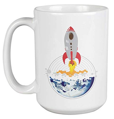 Space Rocket Or Shuttle Graphic Design Coffee & Tea Gift Mug for Science Fair Giveaways, Male Or Female Aerospace Engineer, Scientist, Kids, Teenagers & Men & Women Working As Rocket Engineer (15oz)