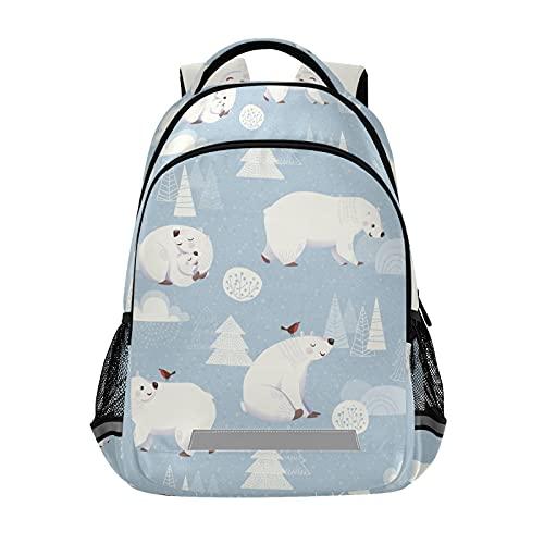 Mochila para portátil para niñas y niños escolares, durable oso polar mamá e hijo pájaros Bookbag con tira reflectante 42,4 x 29,5 x 17,5 cm