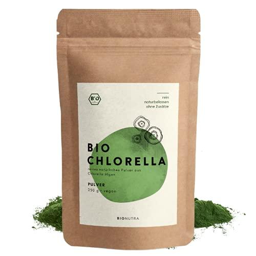 BIONUTRA® Chlorella bio   en poudre   250 g   Agriculture biologique   Sans additifs   100% à paroi cellulaire brisée   Sachet opaque et refermable