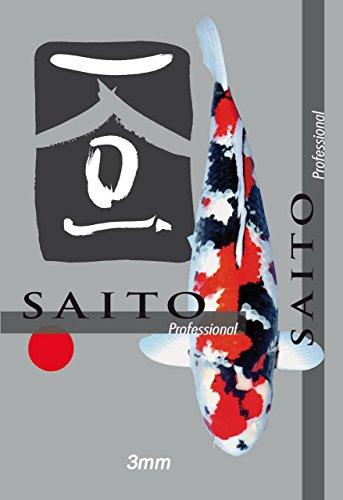 Saito Professional Koischwimmfutter, Premium Koifutter für höchste Ansprüche, für Mega Wachstum, schöne Körperproportionen und leuchtende Farben bei Koi Aller Varietäten, 15kg Sack, 3mm Koipellets