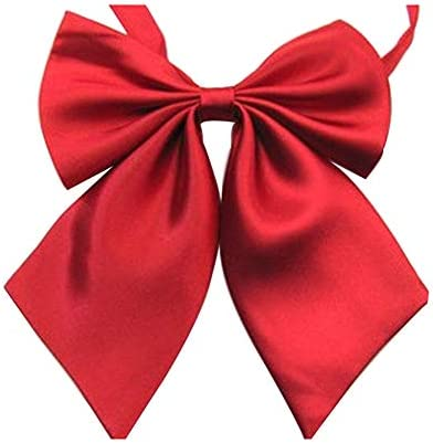Women s Solid Color Bow Tie School Student Sailor Suit Bowknot Adjustable Ribbon red product image