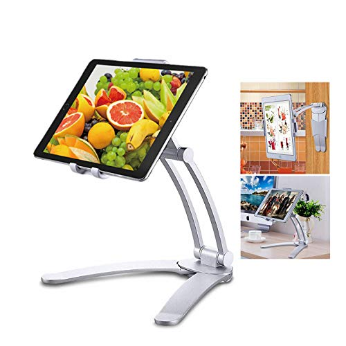 "JaxTec Tablet Stand 2-in-1 iPad Kitchen Wall Mount/Under Cabinet Holder - Perfect for Recipe Reading on Countertop or Using on Office Desktop - Fits iPad iPhone Devices from 4.8"" to 7.5"" Wide"