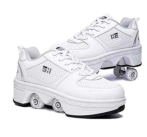 LDTXH 2 in 1 Roller Skates Shoes Deformation Automatic Walking Shoes with Double-Row Deform Wheel Adult Children's Skating Shoes,4