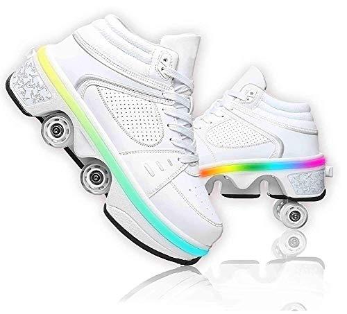 LDTXH LED Leuchtend Schuhe mit Rollen 4-Rad Verstellbare Rollschuhe Verstecktes Rad für Laufsportschuhe Zum Spielen für Junge Mädchen,High,35