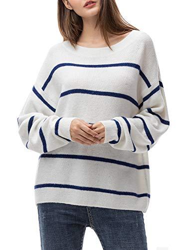 Woolen Bloom Manga Larga Sueter Invierno Sueter Mujer 2019 Jersey Elegante Blanco Azul Rayas Jerseys Punto Blanco Suelta y Cómoda