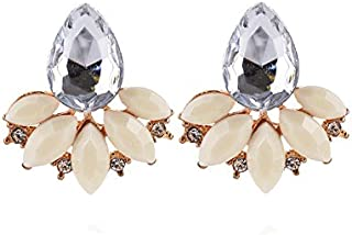 Refaxi Elegant Crystal Rhinestone Ear Clip Stud Dangle Drop Earrings Jewelry,Beige