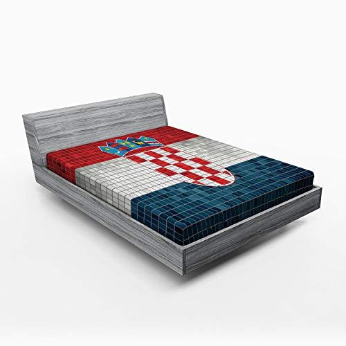 ABAKUHAUS Kroatien Spannbetttuch, Flagge mit Mosaik-Quadraten, Soft Dekorativer Stoff Bettwäsche R&-um Elastischer Gummizug, 180 x 200 cm, Vermilion Pale Grau