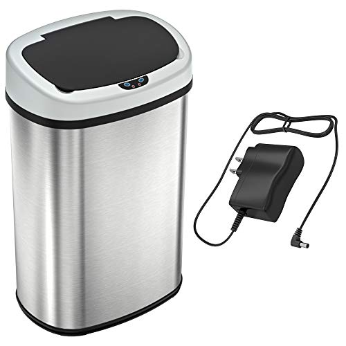 SensorCan SB13SSAC 13 Gallon Automatic Touchless Sensor Battery Free-Stainless Steel-Oval Shape, Ac Adapter + Trash Can
