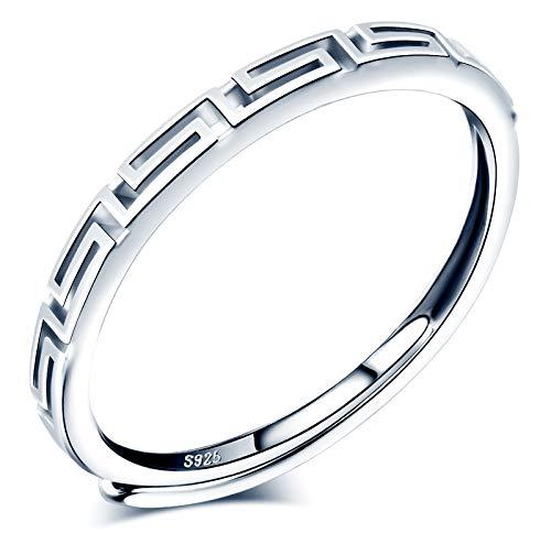 CPSLOVE Anillo de mujer niña, anillo de plata 925, Anillos con patrón vintage, anillo abierto, tamaño ajustable, anillo de bodas, anillo de compromiso, Circunferencia de dedo adecuada:48,5-57mm