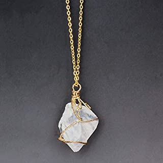 Natural 18inch Punk Irregular Natural Stone Crystal Rose Pendant Necklaces Gold-color Quartz Wire Wrapped Necklace Womens Decoration (Color : Crystal)